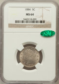 Liberty Nickels: , 1884 5C MS64 NGC. CAC. NGC Census: (116/97). PCGS Population(147/91). Mintage: 11,273,942. Numismedia Wsl. Price for probl...