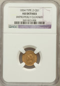 Gold Dollars: , 1854 G$1 Type Two -- Improperly Cleaned -- NGC Details. AU. NGCCensus: (207/5030). PCGS Population (369/2581). Mintage: 78...
