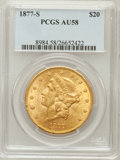 Liberty Double Eagles: , 1877-S $20 AU58 PCGS. PCGS Population (316/947). NGC Census:(634/1202). Mintage: 1,735,000. Numismedia Wsl. Price for prob...