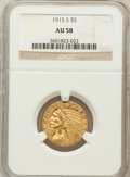 Indian Half Eagles: , 1915-S $5 AU58 NGC. NGC Census: (429/254). PCGS Population(116/250). Mintage: 164,000. Numismedia Wsl. Price for problem f...