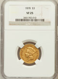 Three Dollar Gold Pieces: , 1878 $3 VF25 NGC. NGC Census: (6/5030). PCGS Population (6/5480).Mintage: 82,304. Numismedia Wsl. Price for problem free N...
