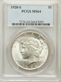 Peace Dollars: , 1928-S $1 MS64 PCGS. PCGS Population (1754/47). NGC Census:(1274/39). Mintage: 1,632,000. Numismedia Wsl. Price for proble...