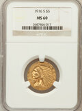 Indian Half Eagles: , 1916-S $5 MS60 NGC. NGC Census: (58/879). PCGS Population (29/750).Mintage: 240,000. Numismedia Wsl. Price for problem fre...