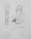 Fine Art - Painting, American:Contemporary   (1950 to present)  , JOSE GRAVE DE PERALTA (American). BENEFITTING ROME ART PROGRAM.Pencil Sketches of Rome, 2012. Graphite on paper. 9...