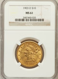 Liberty Eagles: , 1903-O $10 MS61 NGC. NGC Census: (361/371). PCGS Population(178/449). Mintage: 112,771. Numismedia Wsl. Price for problem ...