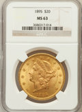Liberty Double Eagles: , 1895 $20 MS63 NGC. NGC Census: (3237/503). PCGS Population(1676/242). Mintage: 1,114,656. Numismedia Wsl. Price for proble...