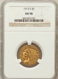 Indian Half Eagles: , 1913-S $5 AU58 NGC. NGC Census: (631/382). PCGS Population(170/287). Mintage: 408,000. Numismedia Wsl. Price for problem f...