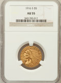 Indian Half Eagles: , 1916-S $5 AU55 NGC. NGC Census: (189/1530). PCGS Population(168/986). Mintage: 240,000. Numismedia Wsl. Price for problem ...