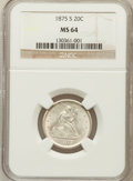 Twenty Cent Pieces: , 1875-S 20C MS64 NGC. NGC Census: (464/254). PCGS Population(506/229). Mintage: 1,155,000. Numismedia Wsl. Price for proble...