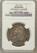 Bust Half Dollars, 1833 50C -- Improperly Cleaned -- NGC Details. AU. NGC Census:(75/946). PCGS Population (151/849). Mintage: 5,206,000....