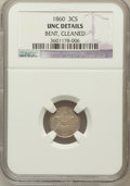 Three Cent Silver, 1860 3CS -- Bent, Cleaned -- NGC Details. UNC. NGC Census: (3/206).PCGS Population (13/209). Mintage: 286,000. Numisme...