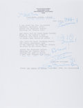 "Autographs:Authors, Tennessee Williams. Typed Poem ""Cried the Fox"" Signed and Annotated. 8.5 x 11 inches, on his personal letterhead. Fine...."