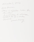 """Autographs:Authors, James Purdy, American novelist and poet. Autograph Letter Signed""""James Purdy"""". One page, 8.5 x 11 inches, dated Novembe..."""