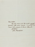 """Autographs:Authors, John Masefield, English poet and writer. Autograph Letter Signed""""John Masefield"""". One page, 7 x 9 inches, undated. Fine..."""
