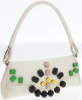 Luxury Accessories:Bags, Prada White Leather Shoulder Bag with Large Stone Accents. ...