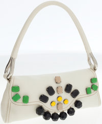 Prada White Leather Shoulder Bag with Large Stone Accents