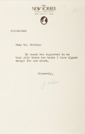 """Autographs:Authors, John McPhee, American writer. Typed Letter Signed """"J.McPhee"""". One page, on The New Yorker letterhead,undated. Very..."""