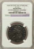 Bust Half Dollars, 1834 50C Small Date, Small Letters -- Environmental Damage -- NGCDetails. AU. O-114. PCGS Population (1...