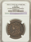 Bust Half Dollars, 1834 50C Large Date, Small Letters -- Environmental Damage -- NGCDetails. XF. O-104. PCGS Popul...