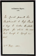Autographs:Authors, James Russell Lowell, American poet. Autograph Note. One page,February 4, 1882. Very good....