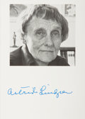 "Autographs:Authors, Astrid Lindgren, Swedish author Pippi Longstocking.Publicity Photograph Signed ""Astrid Lindgren"". 4 x 6 inc..."