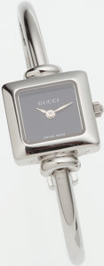 Luxury Accessories:Accessories, Gucci Stainless Steel 1900L Wrist Watch with Black Face. ...