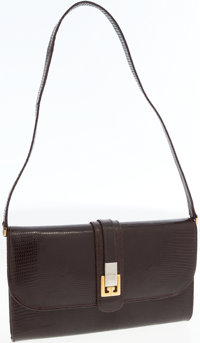 Gucci Brown Lizard Clutch with Gold and Silver Closure and Shoulder Strap