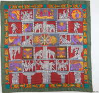 """Hermes Maroon, Olive, and Gray """"Torana,"""" by Annie Faivre Silk Scarf"""