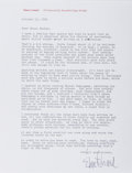 "Autographs:Authors, Elmore Leonard, American author. Typed Letter Signed ""Elmore Leonard"". One page, on his personal letterhead, October 11,..."