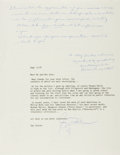 "Autographs:Authors, Gay Talese, American writer. Typed Letter Signed ""Gay Talese"". One page, September 13, 1997. With smoothed fold creases,..."