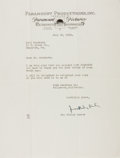 """Autographs:Authors, MacKinlay Kantor, American novelist and screenwriter. Typed Letter Signed """"MacKinlay Kantor"""". One page, on Paramount Pro..."""