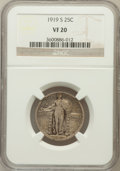 Standing Liberty Quarters: , 1919-S 25C VF20 NGC. NGC Census: (16/321). PCGS Population(14/519). Mintage: 1,836,000. Numismedia Wsl. Price for problem ...