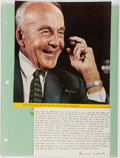 "Autographs:Authors, Archibald MacLeish, American poet and writer. Typed Card Signed""Archibald MacLeish"". 3 x 5"", mounting to a backing shee..."
