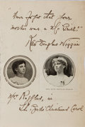 "Autographs:Authors, Kate Douglas Wiggin, American educator and author. Autograph QuoteSigned ""Kate Douglas Wiggins"". 4 x 6 inch sheet with ..."