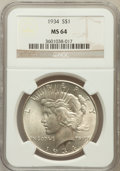Peace Dollars: , 1934 $1 MS64 NGC. NGC Census: (1550/400). PCGS Population(1758/732). Mintage: 954,057. Numismedia Wsl. Price for problemf...