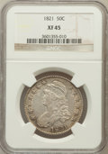 Bust Half Dollars: , 1821 50C XF45 NGC. NGC Census: (61/368). PCGS Population (78/374).Mintage: 1,305,797. Numismedia Wsl. Price for problem fr...