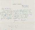 "Autographs:Authors, James T. Farrell, American novelist. Autograph Letter Signed ""James T. Farrell"". One page, on his personal letterhead, M..."