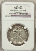 Walking Liberty Half Dollars, 1919-S 50C -- Improperly Cleaned -- NGC Details. VF. NGC Census:(25/311). PCGS Population (51/457). Mintage: 1,552,000. Nu...