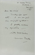 "Autographs:Authors, Mervyn Peake, English writer, poet and illustrator. Autograph Letter Signed ""Mervyn Peake"". One page, November 28, 1945...."