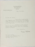 """Autographs:Authors, Honoré Willsie, American novelist and editor. Typed Letter Signed""""Honoré Willsie"""". One page, on """"The Delineator"""" letter..."""