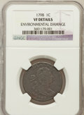 Large Cents, 1798 1C First Hair Style -- Environmental Damage -- NGC Details.VF. NGC Census: (17/118). PCGS Population (21/107). Mintag...
