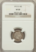 Barber Dimes: , 1913-S 10C VF35 NGC. NGC Census: (3/105). PCGS Population (14/168).Mintage: 510,000. Numismedia Wsl. Price for problem fre...