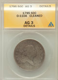 Early Half Dollars, 1795 50C Two Leaves -- Cleaned -- ANACS. AG3 Details. O-110A. PCGSPopulation (0/57). ...