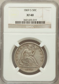 Seated Half Dollars: , 1869-S 50C XF40 NGC. NGC Census: (7/38). PCGS Population (9/48).Mintage: 656,000. Numismedia Wsl. Price for problem free N...