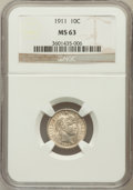 Barber Dimes: , 1911 10C MS63 NGC. NGC Census: (175/422). PCGS Population(217/490). Mintage: 18,870,544. Numismedia Wsl. Price forproblem...