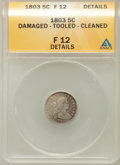 Early Half Dimes: , 1803 H10C Large 8 -- Cleaned, Damaged, Tooled -- ANACS. Fine 12Details. NGC Census: (0/35). PCGS Population (5/81). Mintag...