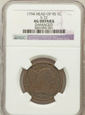 Large Cents, 1794 1C Head of 1795 -- Damaged -- NGC Details. AG. S-72. NGCCensus: (0/431). PCGS Population (12/463). Mintage: 918,521....