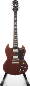 Musical Instruments:Electric Guitars, 2012 Epiphone SG Faded G-400 Worn Brown Solid Body Electric Guitar,Serial # 1007203XXX....