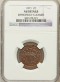 Two Cent Pieces, 1871 2C -- Improperly Cleaned -- NGC Details. AU. NGC Census:(18/484). PCGS Population (40/237). Mintage: 721,100. Numisme...