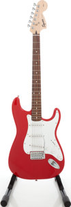 Musical Instruments:Electric Guitars, 2001 Fender Squire Affinity Series Stratocaster Red Solid BodyElectric Guitar, Serial # IC010425655....